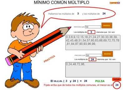 mcm. minimo comun multiplo. elviparo