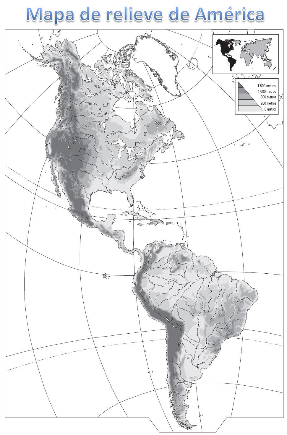 Mapa Fisico De America Para Imprimir